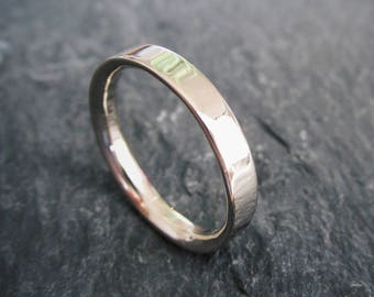 14K Gold Flat Edge Half Round 'Inside Out' Wedding Band. Handmade In Solid 14K White or Yellow Gold. Made To Order.