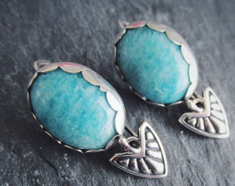 Blue Amazonite Chevron Shield Dangle Drop Earrings. One of a kind. Handmade in Sterling Silver. Ready to ship!