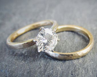 One Carat Forever One Moissanite 6 Prong Engagement Ring and Wedding Band Bridal Set. 14K Recycled Gold Tapered Hammered Band