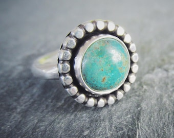 Rugged //\\ Natural Royston Turquoise Sterling Silver Organic Handmade Unique Engagement Ring Size 5 Ready To Ship
