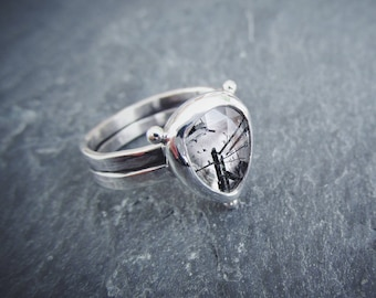 Rose Cut Tourmalated Sterling Silver Double Band Hand Forged Artisan Ring. Ready To Ship. Size 7.