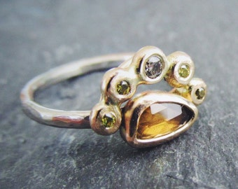 Rose Cut Champagne Half Halo Sapphire and Diamond Unique Alternative Engagement Ring. OOAK Ready To Ship Size 5.5