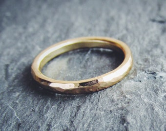 Sweet and Simple Hand Forged Womens Wedding Band in 14K Gold. Made to order.