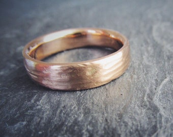Redwood Bark Gold Mens Wedding Band in 14K or 18K Yellow Gold, Rose Gold, or White Gold. Custom Made to Order.