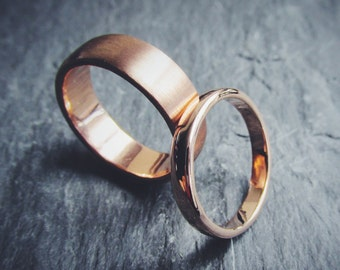 14K Rose Gold Matching Wedding Band Set Classic Elegant Timeless Custom Made To Order in Your Size