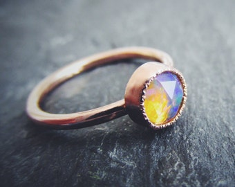 Rose Cut Welo Opal 14K Rose Gold Unique Engagement Ring, Stacking Ring, October Birthstone, Solid Gold Wedding Ring Custom Made in Your Size
