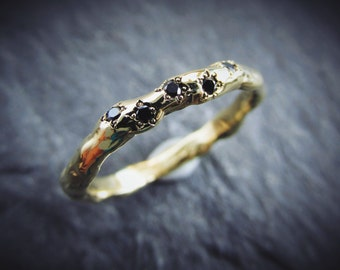 Black Diamonds -- Rugged 14K Gold Rustic Unique Eternity Style Wedding Band with Five Conflict Free Black Diamonds Custom Made in Your Size