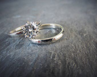 Custom for ehearn25 -- One Carat Forever One Moissanite 6 Prong Engagement Ring and Wedding Band Bridal Set. 14K White Gold. Size 10