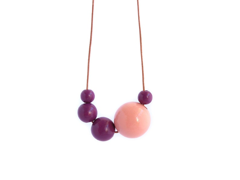 Long wooden necklace wood bead necklace asymmetric necklace image 0