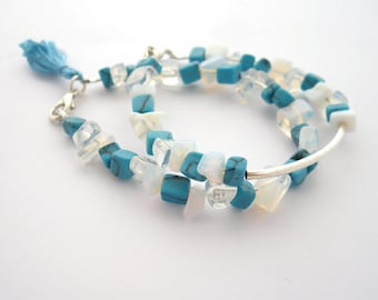 Turquoise gemstone bracelet, stacking bracelet, tassel bracelet, women gift, layered bracelet, summer bracelet, friendship bracelet set of 2