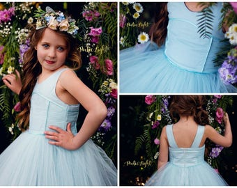 Azure Party Dress PDF Sewing Pattern by Ainslee Fox for little girls size 1-12
