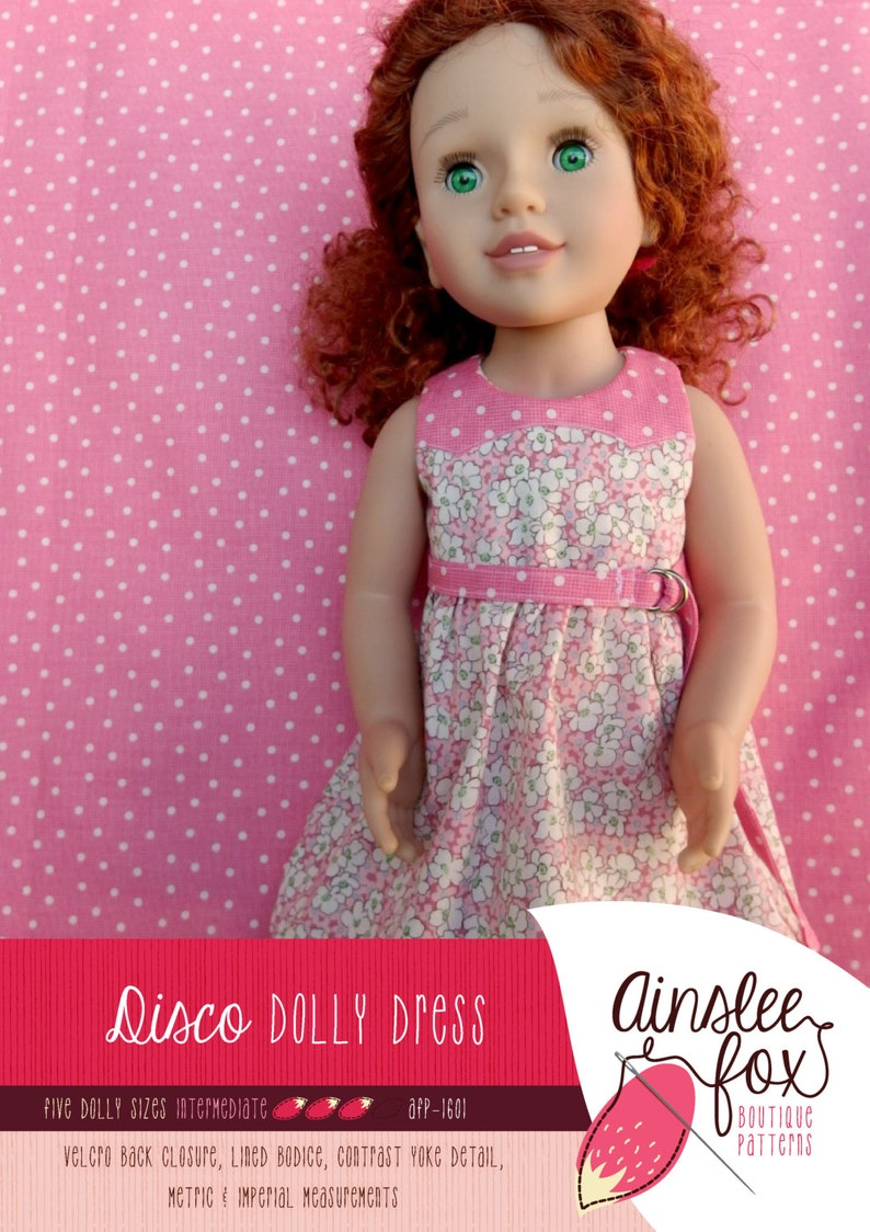 Dolly Disco Dress PDF Sewing Pattern  5 dolly sizes image 0