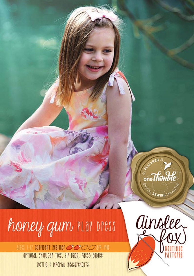 Honey Gum Play Dress Ainslee Fox Boutique Patterns PDF Sewing image 0