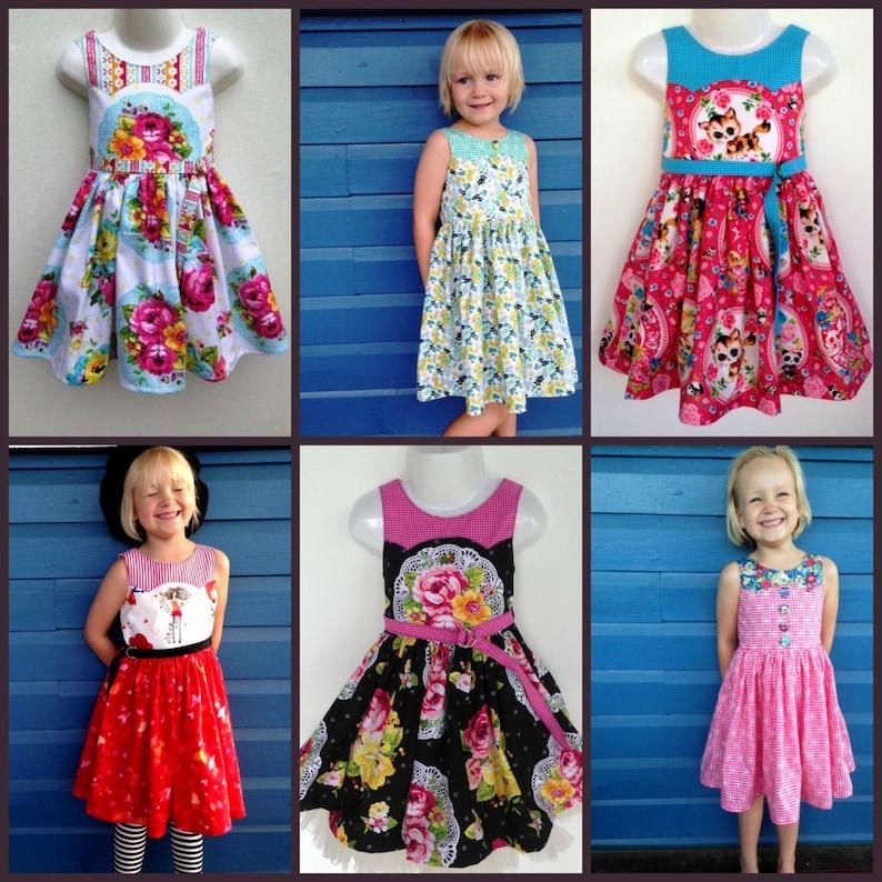 Girls Dress size 1 to 12 PDF Sewing Pattern Ainslee Fox Disco image 0