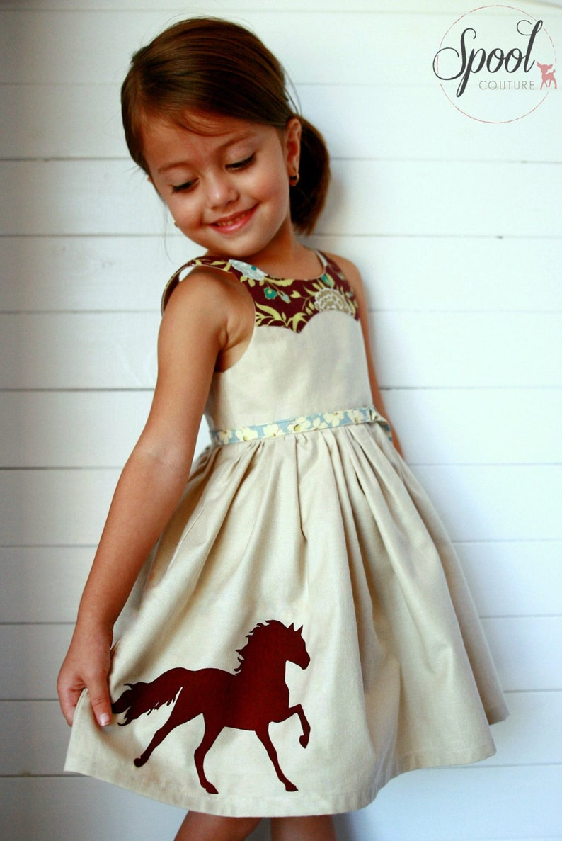 size 1 to 12 years Girls Dress PDF Sewing Pattern Disco Party image 0