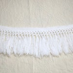White Cotton 4-inch Wide Knotted Brush Fringe from a Hofmann Vintage Chenille Bedspread - 7+ Yards