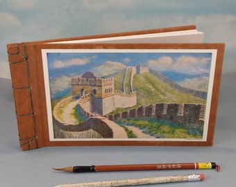 Great Wall of China Sketch Journal with Vintage Nankow Pass Wall Scene Color Book Plate on the Cover