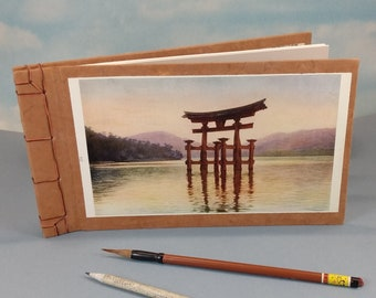 Japanese Shinto Temple Torii Gate Sketch Journal with Vintage Miyajima Japan Color Book Plate on the Cover