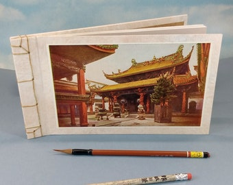 Queen of Heaven Chinese Temple Sketch Journal with Vintage Bookplate Photograph of Ningpo China Historic Temple on the Cover
