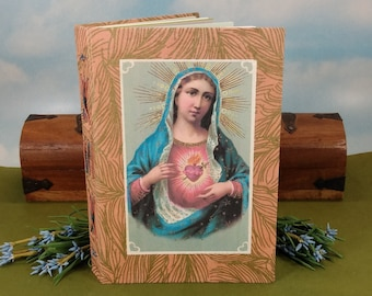 Immaculate Heart of Mary Devotional Writing Journal with Vintage 1911 Postcard Reproduction on Peach Handmade Hardcover Book