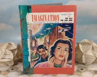Imagination Science Fiction Writing and Sketch Journal with Original Vintage December 1955 Magazine Cover on Rescued Orange Hardcover Book