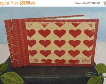 On Sale Red Hearts Love Journal or Photo Album with Wooden Heart Pattern Postcard Cover