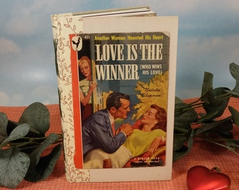 Love is the Winner Romance Writing Journal with Vintage Paperback Cover on Rescued Hardcover Book