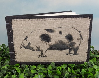 Contented Spotted Hog Coptic Bound Sketch Journal with Linen Fabric Hog Print on Black Covers