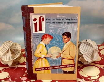 IF Magazine Sci-Fi Writing Journal with Original Vintage November 1955 Magazine Cover on Rescued Yellow Hardcover Book
