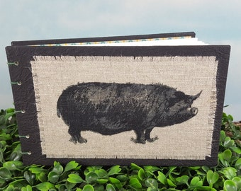 Happy Black Hog Coptic Bound Sketch Journal with Linen Fabric Hog Print on Black Covers
