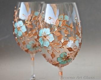 Wine Glasses, Hand Painted Wine Glasses, Mint Copper Glasses, Wedding Glasses, Set of 2
