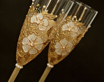 Wedding Glasses, White Gold Wedding, Champagne Glasses, Toasting Flutes, Hand Painted Set of 2