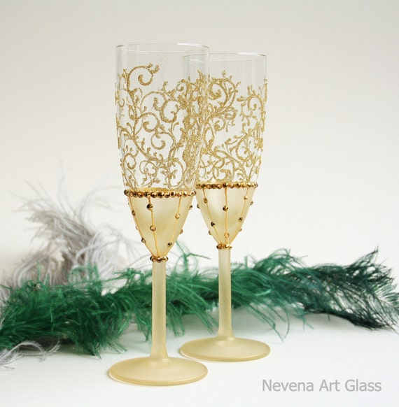 Goldene Hochzeit Gläser Sektgläser Toasten Flöten 2er Set