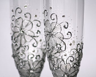 MADE to ORDER Swarovski Crystals,Ice Gel Flowers Wedding Champagne Flutes Hand Painted Set of 2