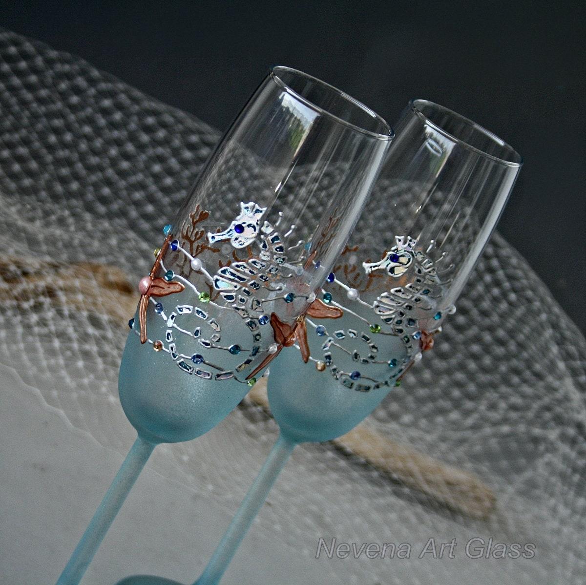 Beach Champagne: BEACH Champagne Flutes Beach Wedding Glasses Champagne
