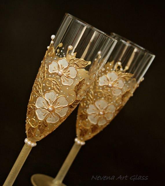 Weißes Gold Hochzeit Hochzeit Gläser Sektgläser Toasten Flöten Von Hand Bemalt 2er Set