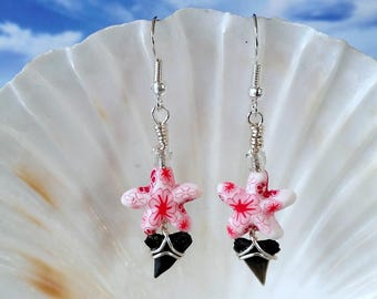 Shark tooth earrings silver wire wrapped earrings, pink and white starfish fossil earring