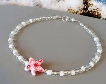 Pink and white starfish beaded anklet, beach ankle bracelet, special buy 9 inch