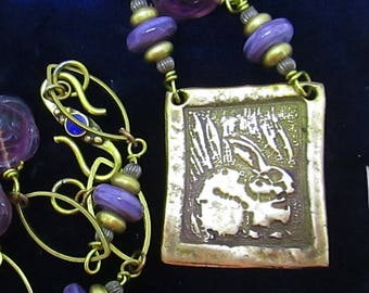 Bronze and Glass Bead Rabbit Necklace