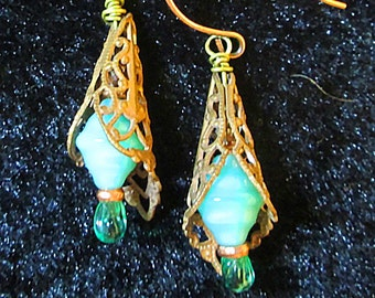 Copper Filigree Earrings with Lampework Green Beads.