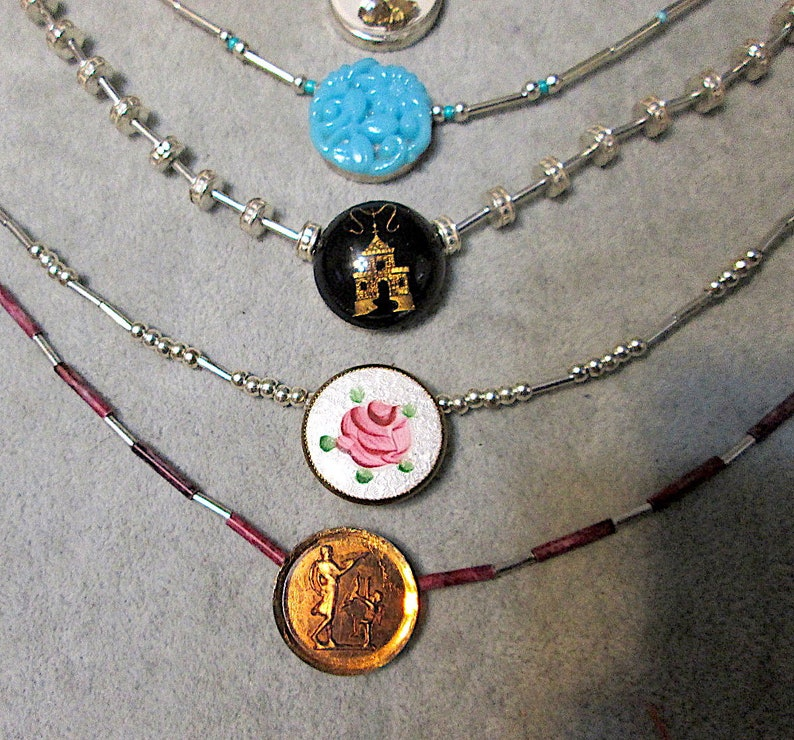 15 12 Necklace Petite Vintage Enameled Painted Rose with Sterling Silver Beaded Chain Choker