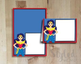 DC Superhero High Girls Food Tents O Birthday Party Wonder Woman Supergirl Batgirl Blank Placecards Instant Digital Download