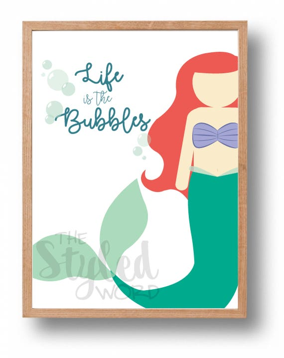 Ariel The Little Mermaid Quote Princess Art Life is the | Etsy - photo#15