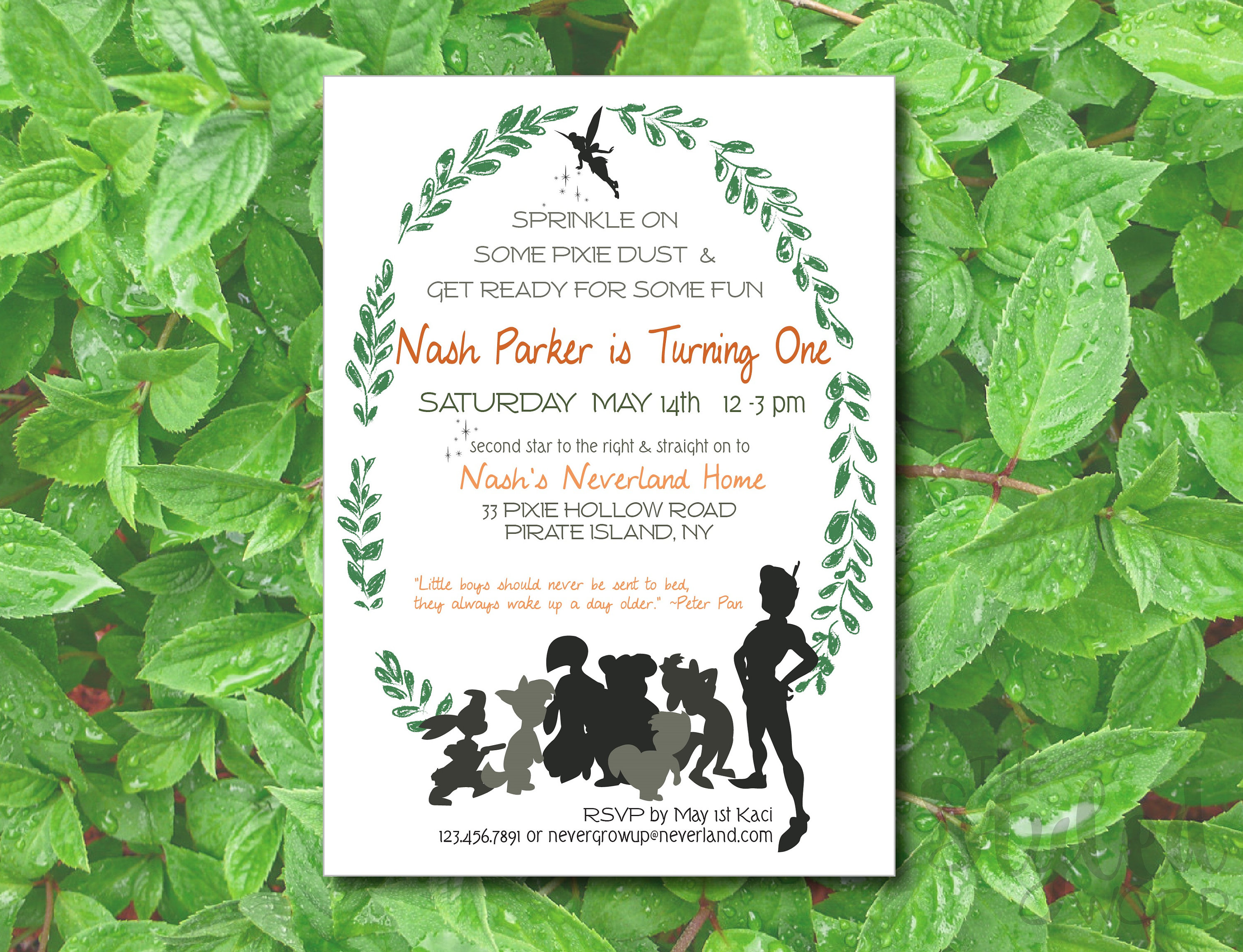 Peter Pan 1st Birthday Invitation Neverland and Lost Boys | Etsy
