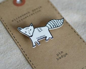 RESERVED LISTING for Christina - fox  cub brooch - by elizabeth pawle - modern design - hand drawn hand cut - illustration pin badge