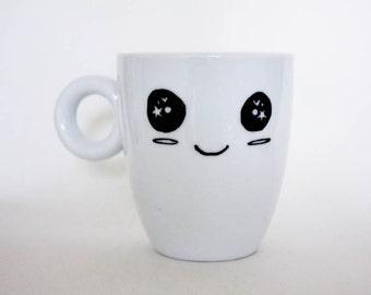 Kawaii Face Mug - Upcycled Original Hand Drawn Gift Coffee Tea Cute Smiley Big Sparkly Eyes black and white dishwasher safe microwave safe