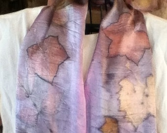 eco printed charmeuse silk scarf with cochineal 11 x 60