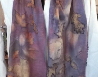 eco printed raw silk scarf with brazilwood 14 x 84