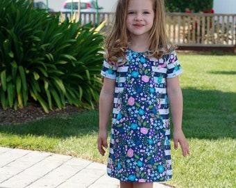 Mandrake Dress 12m-8 PDF pattern girls knit dress pattern, knit dress sewing pattern, colorblock dress pattern