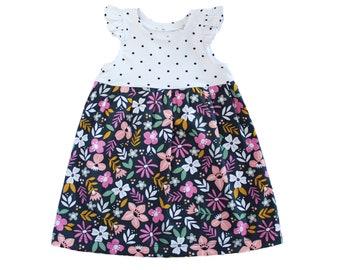Snapdragon Dress 12m-8 PDF Girls Dress Pattern, Knits, Flutter, Short, Cap, Long Sleeve